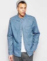 WÅVEN Regular Fit Denim Shirt Alf Western Quarry Blue Light Wash