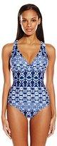 LaBlanca La Blanca Women's Tangier Tile Multi Strap Cross Back One-Piece Swimsuit