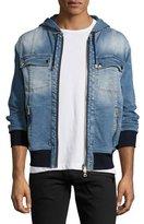 Balmain Denim Zip-Front Hoodie, Light Blue