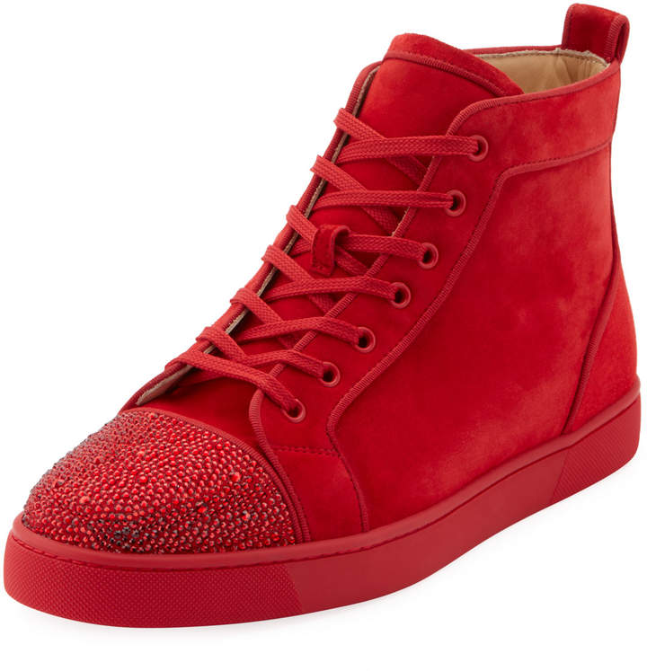 cheap for discount 5b205 87094 Men's Louis Suede High-Top Sneakers with Crystal Embellishments