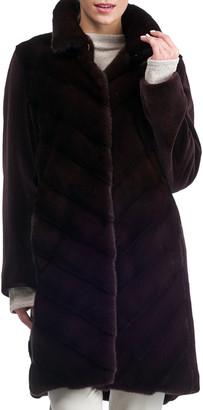 Gorski Chevron Sheared Mink Stroller Coat