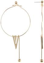 Cara Accessories Hoop, Bar, & Triangle Studded Earrings
