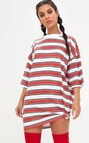 PrettyLittleThing Red Striped Oversized Boyfriend T Shirt Dress
