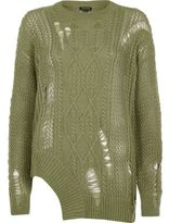River Island Womens Khaki cable knit laddered cut out hem sweater