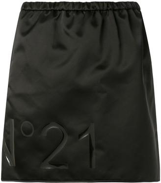 No.21 Laminated Logo Mini Skirt