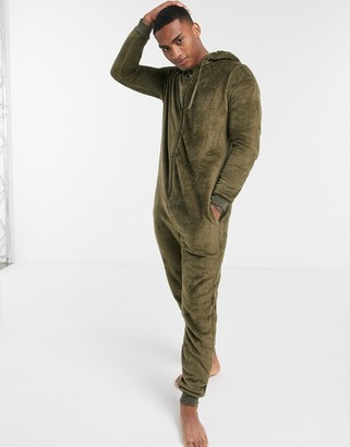 ASOS DESIGN fleece onesie in khaki