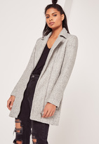 Missguided Grey Petite Faux Wool Biker Coat