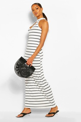 boohoo Stripe High Neck Cut Out Maxi Dress