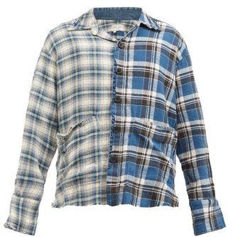 Greg Lauren Boxy Studio Deconstructed Plaid Cotton Shirt - Blue