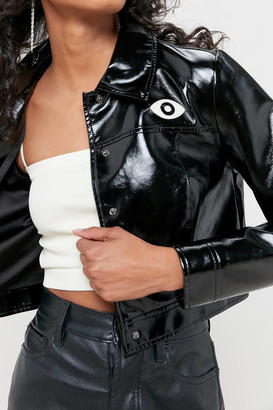 Veda UO Exclusive Patent Faux Leather Cropped Jacket