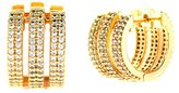 Crislu Women's Gold Plated 925 Sterling Silver Round Clear Cubic Zirconia Triple Rows Hoop Earrings
