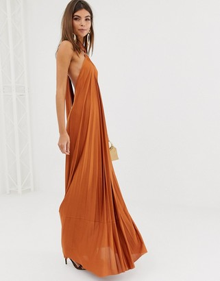 Asos Design DESIGN halter trapeze pleated maxi dress with ring detail-Brown