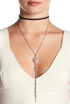 Steve Madden Bead Embellished Drop Pendant & Chain Drop Suede Choker