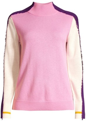 Escada Sport Statice Multicolor Fringe-Trim Wool Sweater