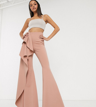 Asos Tall DESIGN Tall structured scuba ruffle flare-Beige