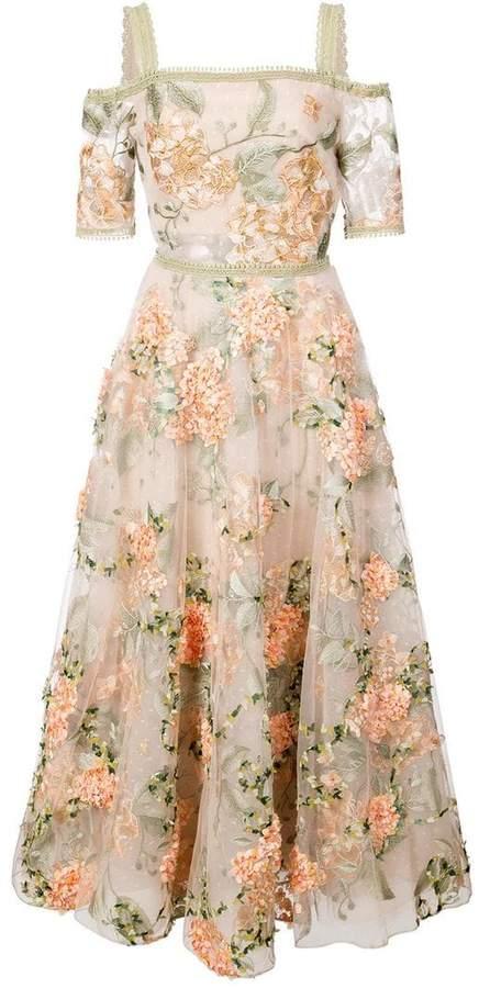 Marchesa floral-embroidered off-the-shoulder dress
