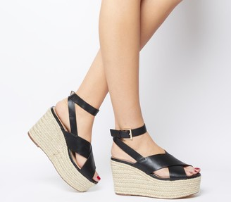 Office Medal Ankle Strap Espadrille Wedges Black