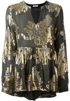 P.A.R.O.S.H. metallic ruffled blouse