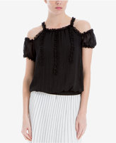 Max Studio London Ruffled Cold-Shoulder Top