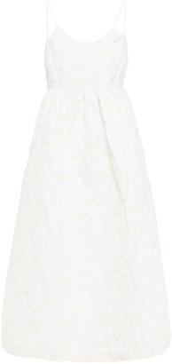 Samsoe & Samsoe Samse Samse Grant Flared Textured Floral-jacquard Midi Dress