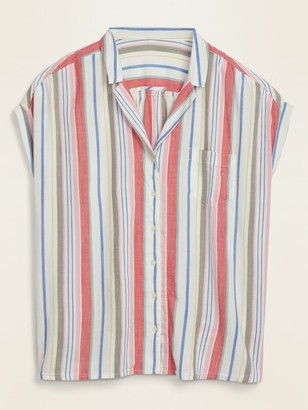 Old Navy Multi-Stripe No-Peek Plus-Size Camp Shirt