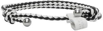 Bottega Veneta Black and White Slim Intrecciato Bracelet
