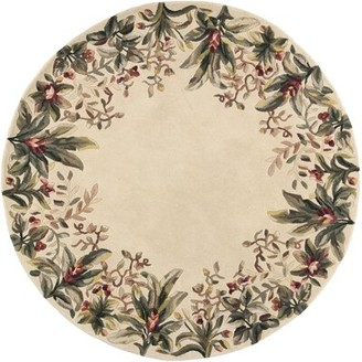 "Bay Isle Home Marion Ivory Tropical Border Hand-Tufted Wool Area Rug Rug Size: Rectangle 2'6"" x 4'6"""