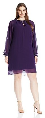 SL Fashions Women's Plus Size Long Sleeve Dress with Jewel Trim