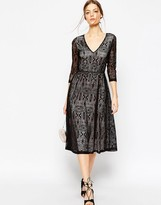 Asos Lace Midi Dress With Contrast Lining
