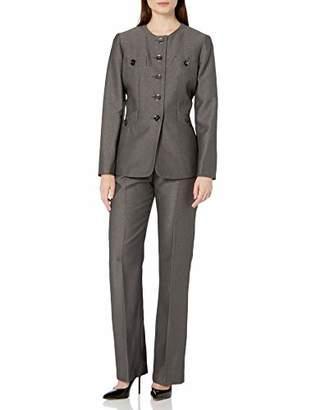Le Suit Women's 5 Button Jewel Neck Crepe Pant Suit
