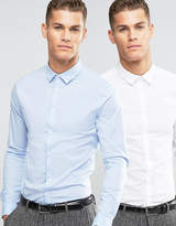 Asos Skinny Shirt 2 Pack In White And Blue Save