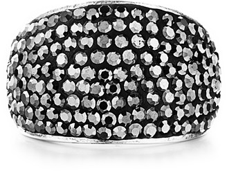 Shimla Jewellery Shimla Solid Stainless Ring with Pave Hematite Crystals- Size Q