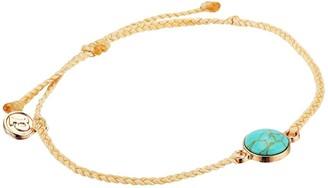 Pura Vida Riviera Stone Bracelet (Bezel Set Turquoise Cabochon Charm/Cream String) Charms Bracelet