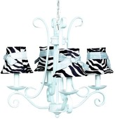 The Well Appointed House Blue Harp Four Arm Chandelier with Zebra Shades