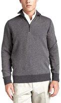Loro Piana Roadster Half-Zip Cashmere Sweater, Gray