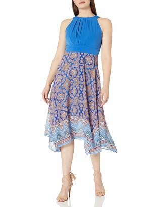 Sandra Darren Women's 1 Pc Sleeveless Ity & Chiffon Uneven Hem Dress