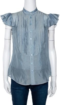 Ralph Lauren Sage Green Ruffled Sleeve Blouse S