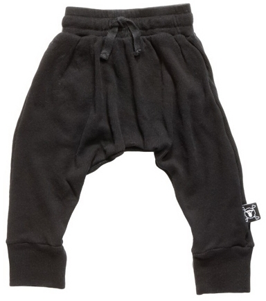 NUNUNU - Ribbed Baggy Pants - Black