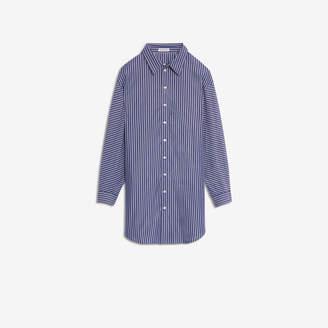 Balenciaga Pulled Shirt Dress in dark blue and white striped cotton poplin