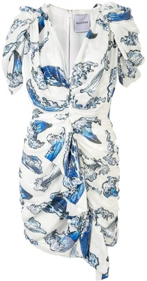 Halpern Sequin Wave Print Dress