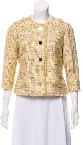 Tory Burch Collarless Tweed Blazer