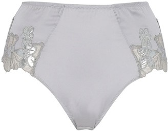 Fleur Du Mal Silver Foil High Waist Satin Briefs