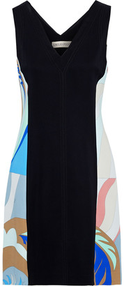 Emilio Pucci Paneled Printed Stretch-cady Mini Dress