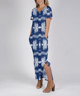 Beyond This Plane Women's Maxi Dresses BLU - Blue & White Tie-Dye Side-Slit Pocket Maxi Dress - Women & Plus