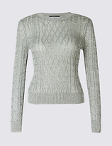 Limited Edition Textured Metallic Cable Knit Jumper