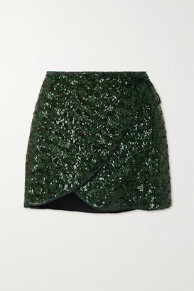 Oseree Sequined Crepe Wrap Mini Skirt - Dark green