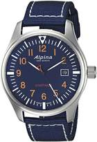 Alpina Men's 'Startimer' Swiss Quartz Stainless Steel and Nylon Casual Watch, Color:Blue (Model: AL-240N4S6)