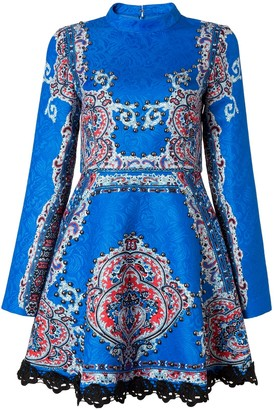 Comino Couture London Electric Blue High Neck Skater Vintage Dress With Sleeves