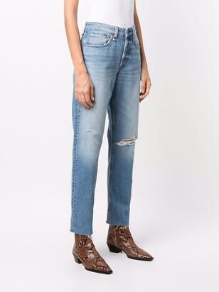Rag & Bone Ripped-Knee Straight Jeans