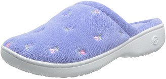 Isotoner Women's Terry Floral Embroidered Clog